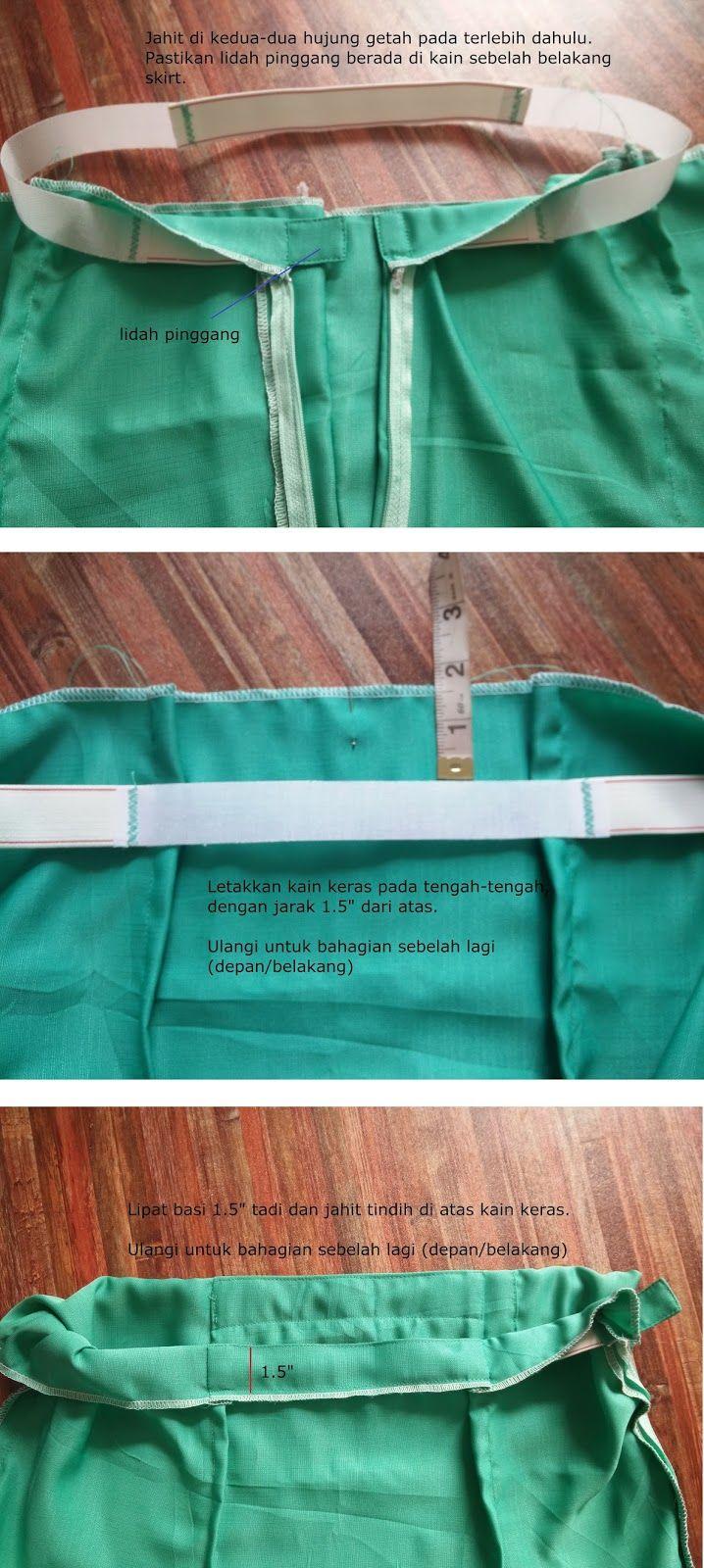 Cara Jahit Pinggang Getah Campur Sewing Techniques Sewing Basics Sewing Clothes