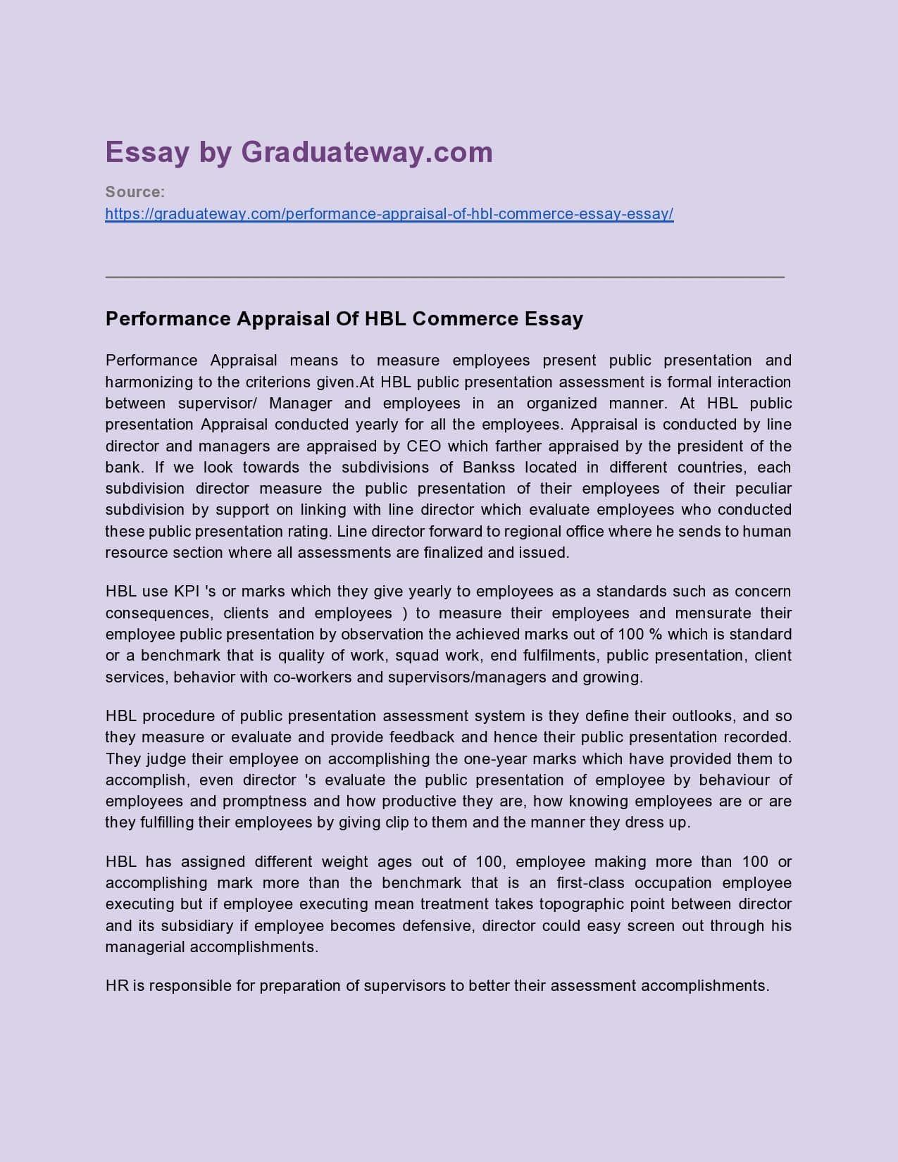 Performance management essay