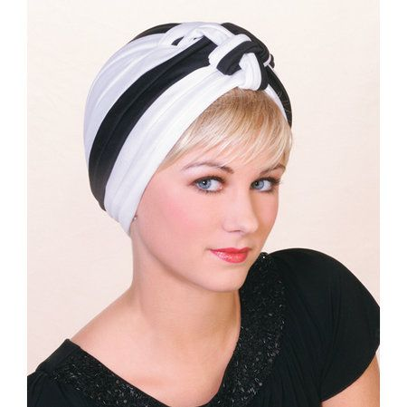 Reversible Fashion Turban - Look outstanding in this TWC best-seller. This high fashion design can be worn with the intricate detailing in the front or back. 100% polyester. Black/white color combo as shown.   Made in the USA. Find this style & more @ thewigcompany.com