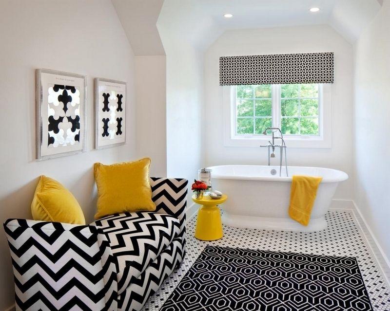 déco salle de bain romantique et artistique- accents jaunes sur un ...