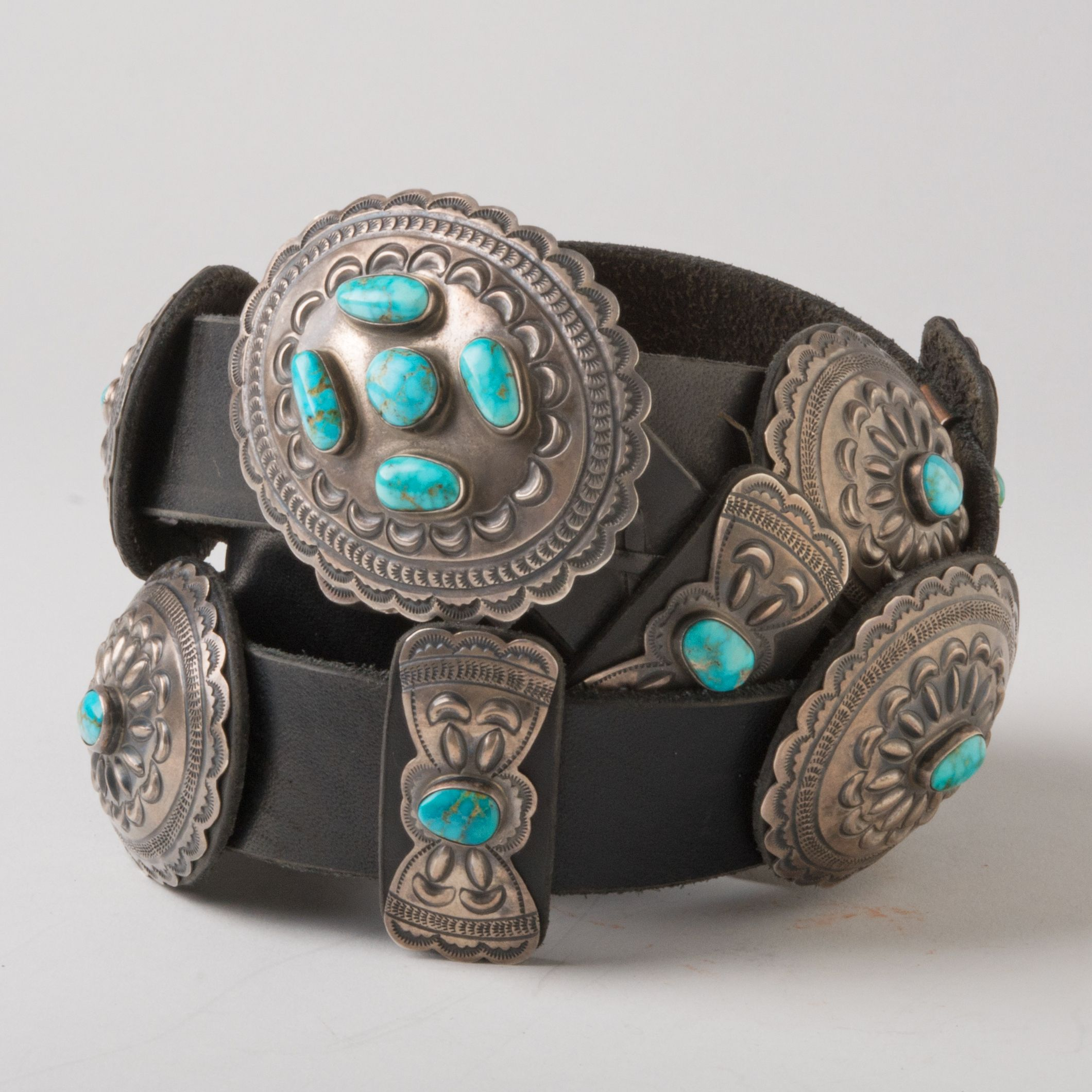 Concho Belt With Mountain Turquoise By Geraldine Yazzie In