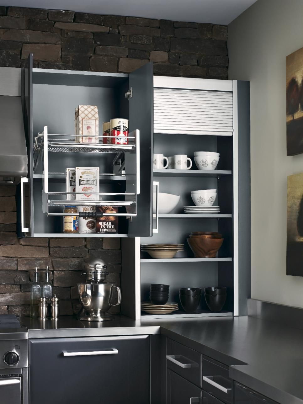 From High Tech To Low Tech And For Rooms Small To Large These Kitchen Storage Ideas Will Keep You Kitchen Wall Storage Kitchen Design Kitchen Cabinet Storage