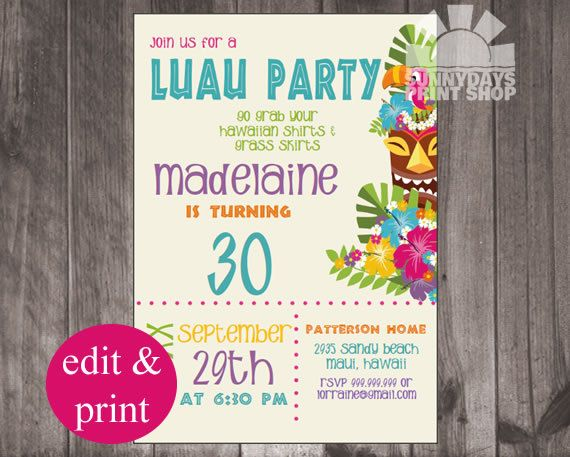 Instant invitation download personalize and print at home personalize and print at home vibrant colors in this luau luau invitationsbirthday party stopboris