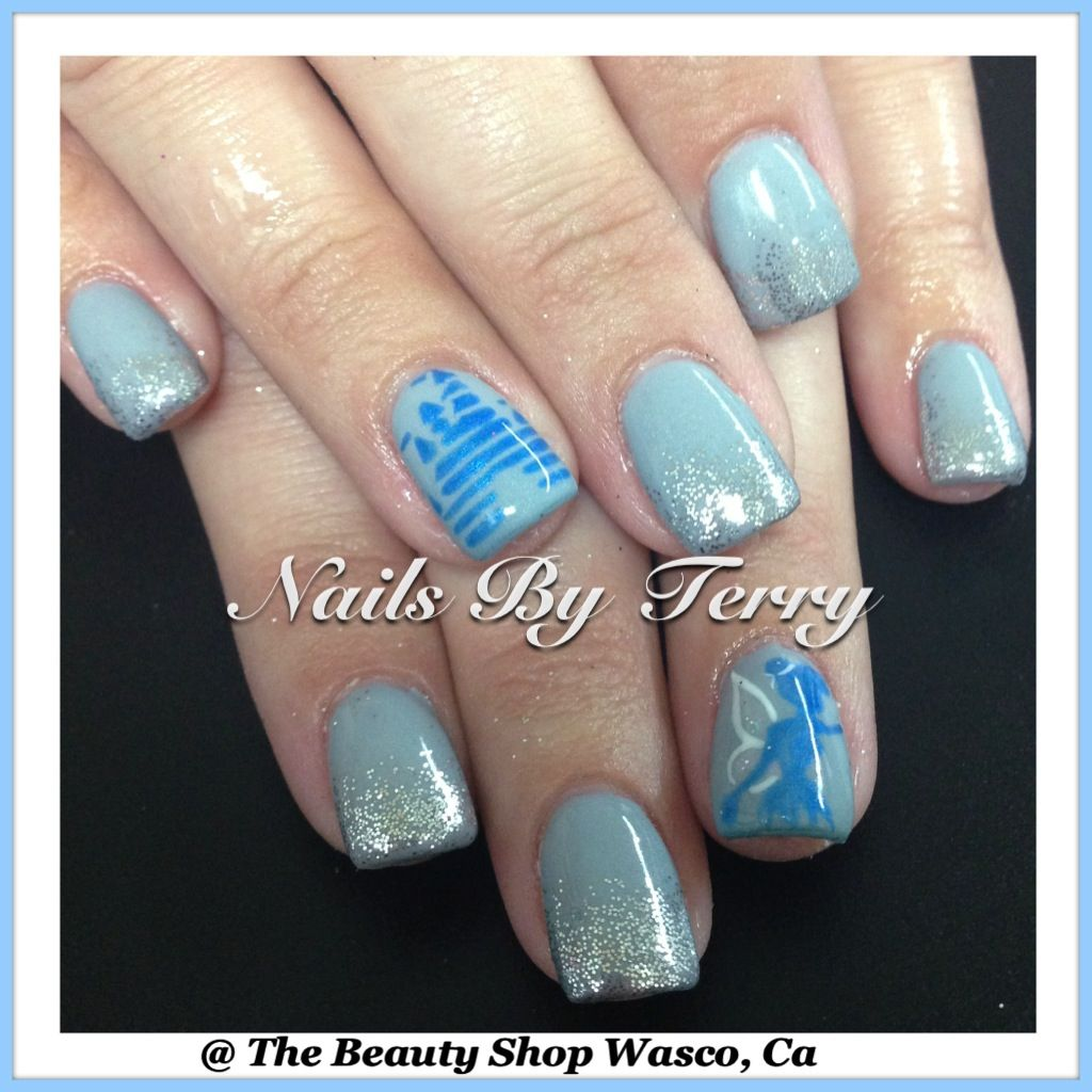 Disney Castle with Tinkerbell | Character nail art by Terry | Pinterest