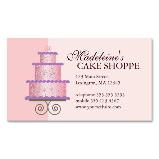 Elegant cake on pink custom bakery business card cake biz elegant cake on pink custom bakery business card fbccfo Gallery