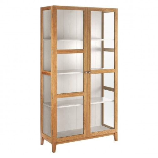 COLTON Oak and linen white glass cabinet | Buy now at ...