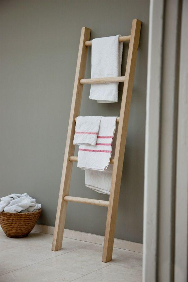 Handtuchleiter Aus Holz Fur Ihr Badezimmer Handtuchleiter Badezimmer Leiter Leiterdekor