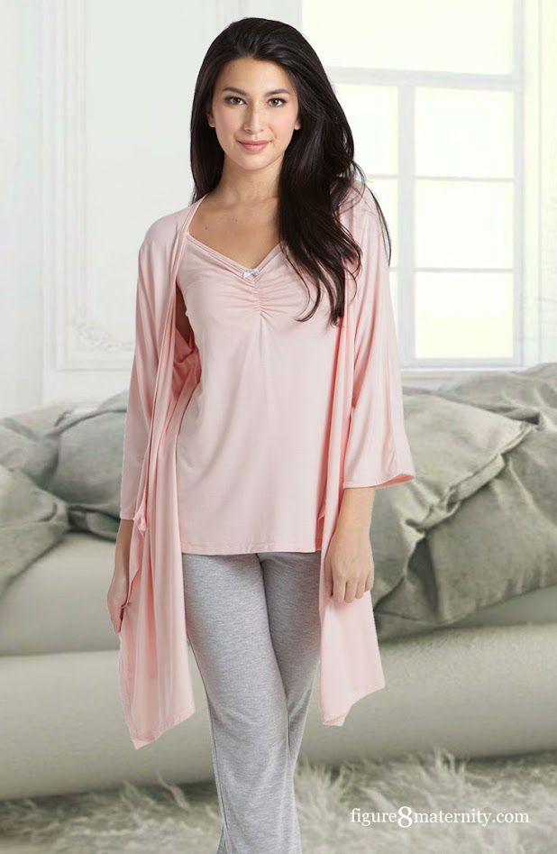 167489820641 Night time feeds never looked so chic! The Caminurse Pants Set with Robe is  a
