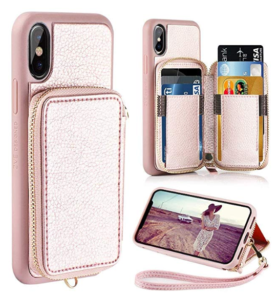 reputable site 3db9f 8d87f iPhone X Wallet Case, iPhone X Case with Card Holder, ZVE Shockproof ...
