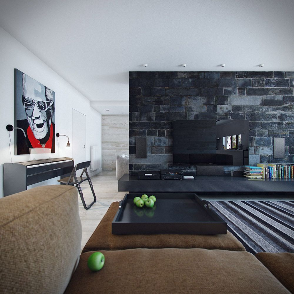 Black wall living room - Special Design Black Stone Feature Wall Living Room
