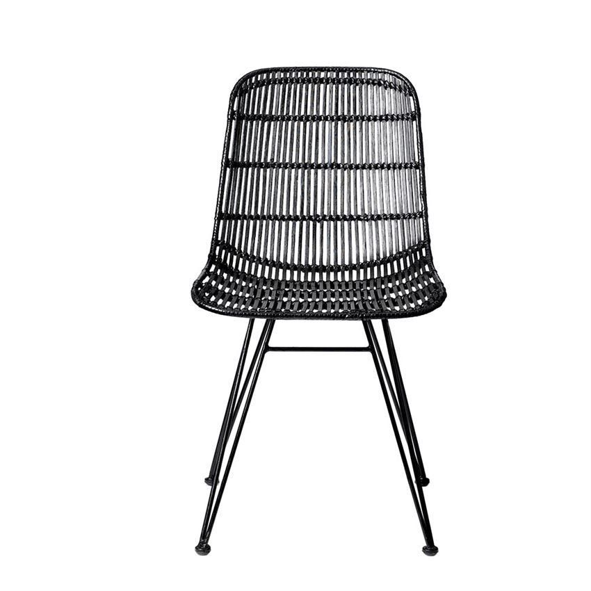 Black Braided Rattan Chair With Black Metal Frame Dining