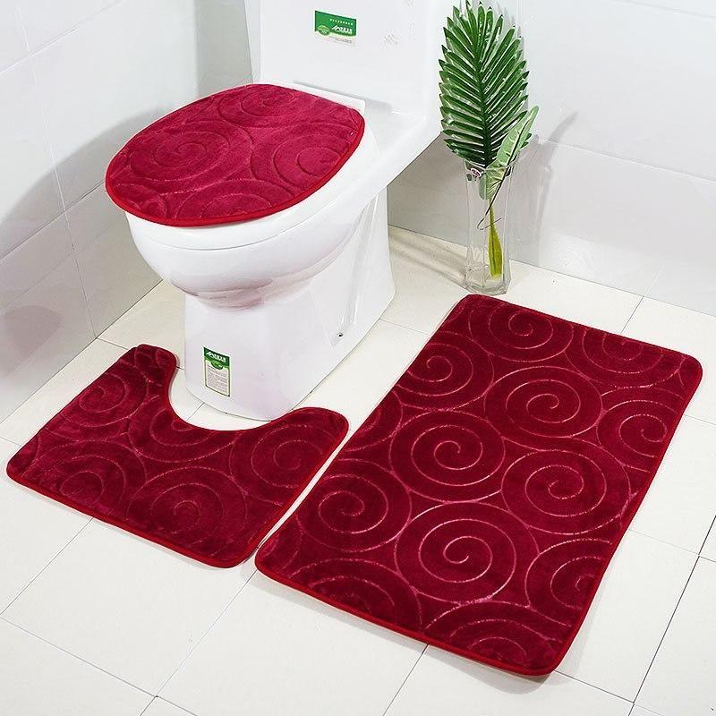 Non Slip Rug U Shape Square Bathroom Toilet Contour Seat Cover Bath Mat 3pcs Set