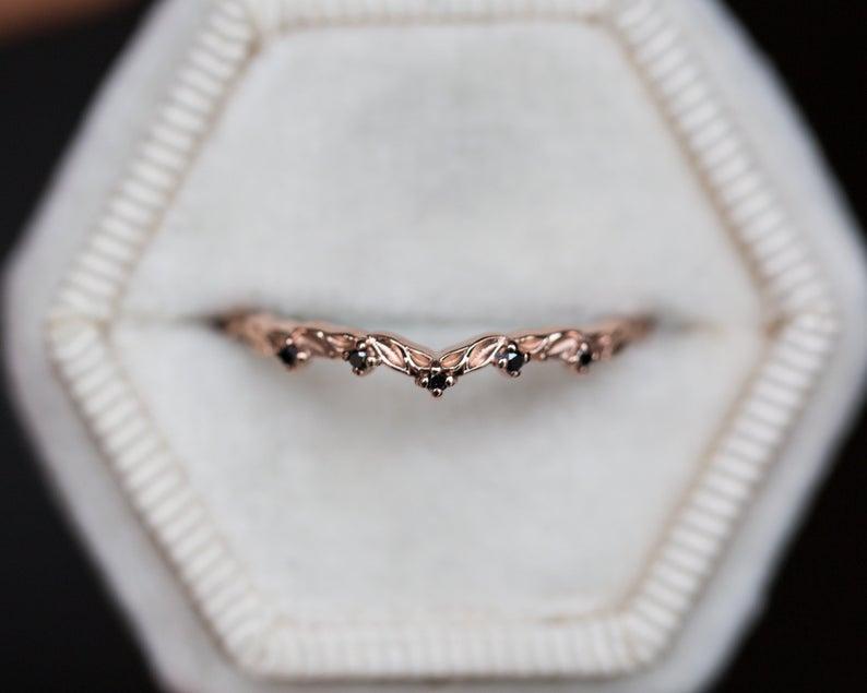 Curved Leaf Black Diamond Wedding Band Diamond Lace Ring | Etsy