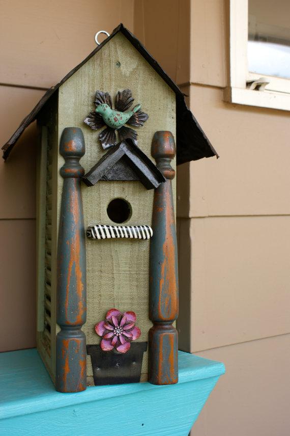 handmade birdhouse  redhenbirdhouses  etsy