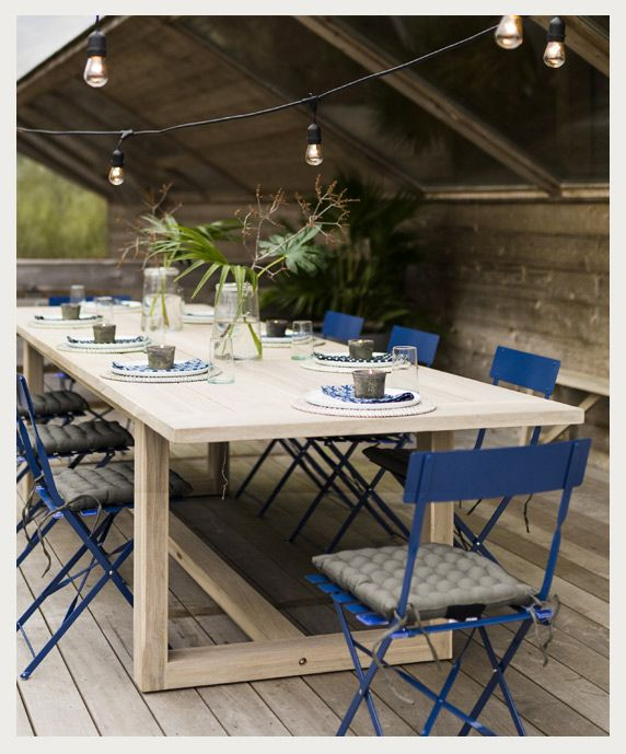room to spare our protected teak extension table seats a crowd rh pinterest com
