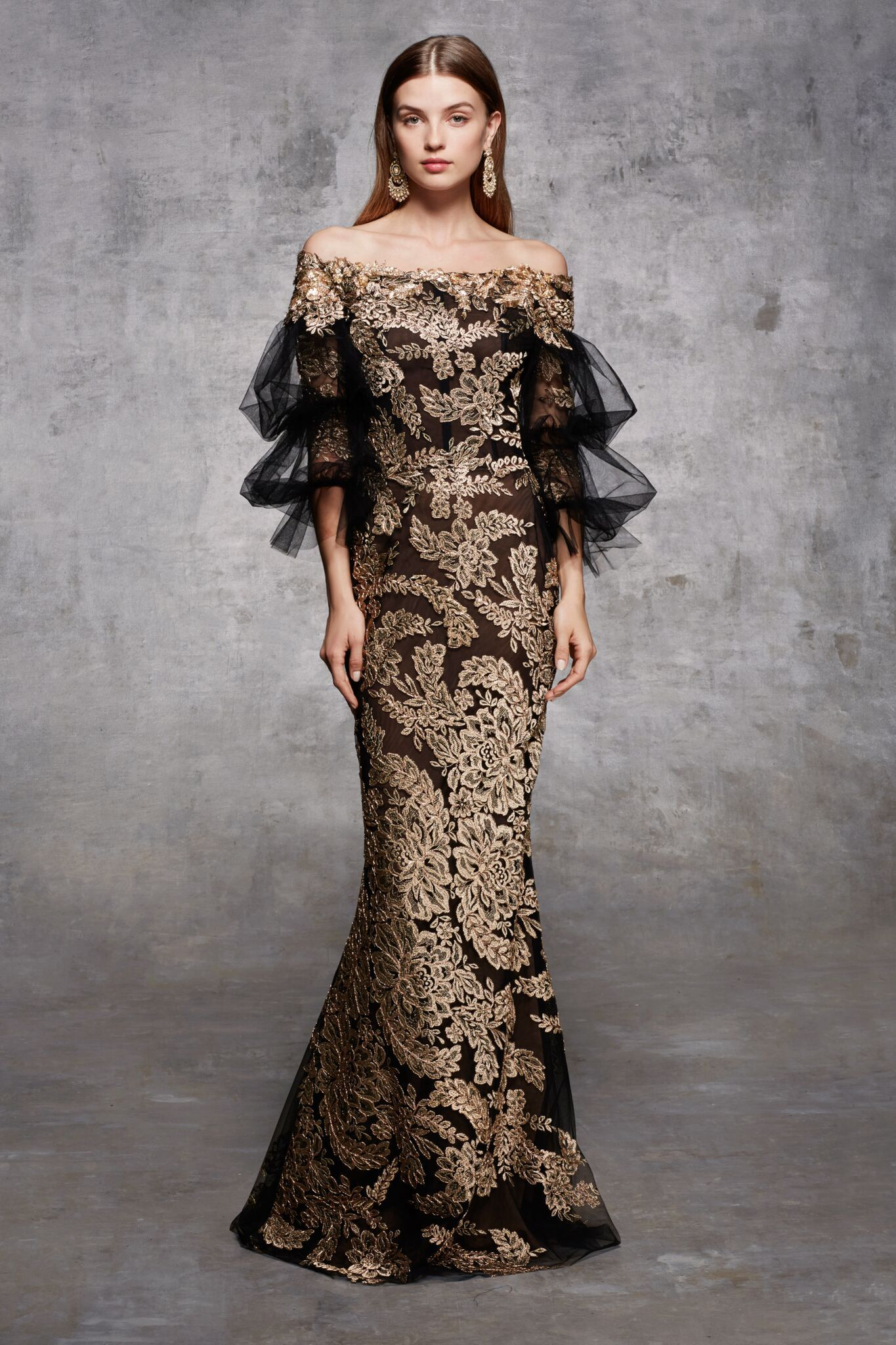 2f7b176d4ed Off shoulder metallic rose gold corded lace column gown with ¾ length tulle  balloon sleeves