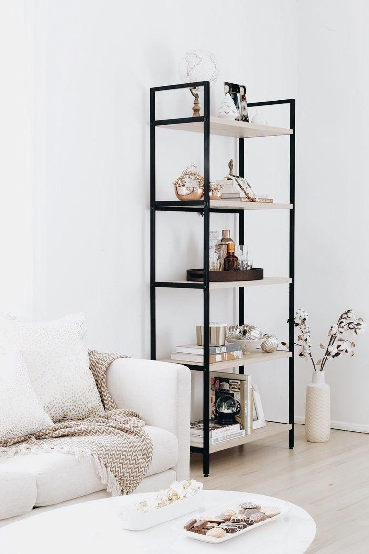 soo classy! | open shelving living room family room home inspiration ...