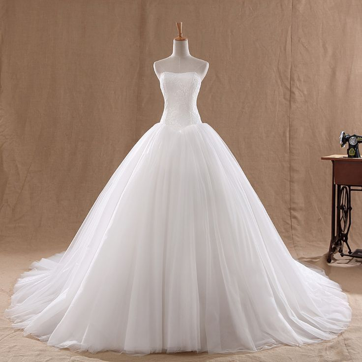 $5 New Arrival 2014 Fashion Celebrity Strapless White/Ivory Tulle Silk Organza Vera Wedding Dresses Bridal Ball Gown Free Shipping $5 Deal