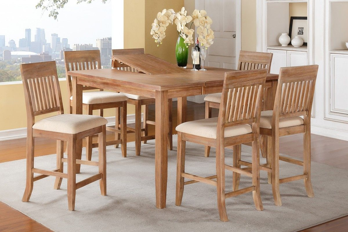 7 Piece Counter Height Dining Table Set With 18 Erfly Leaf