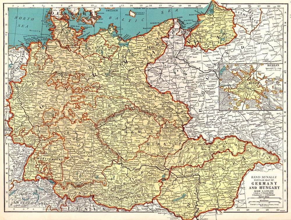 1940 Antique GERMANY Map Vintage 1940s Map of Germany ...