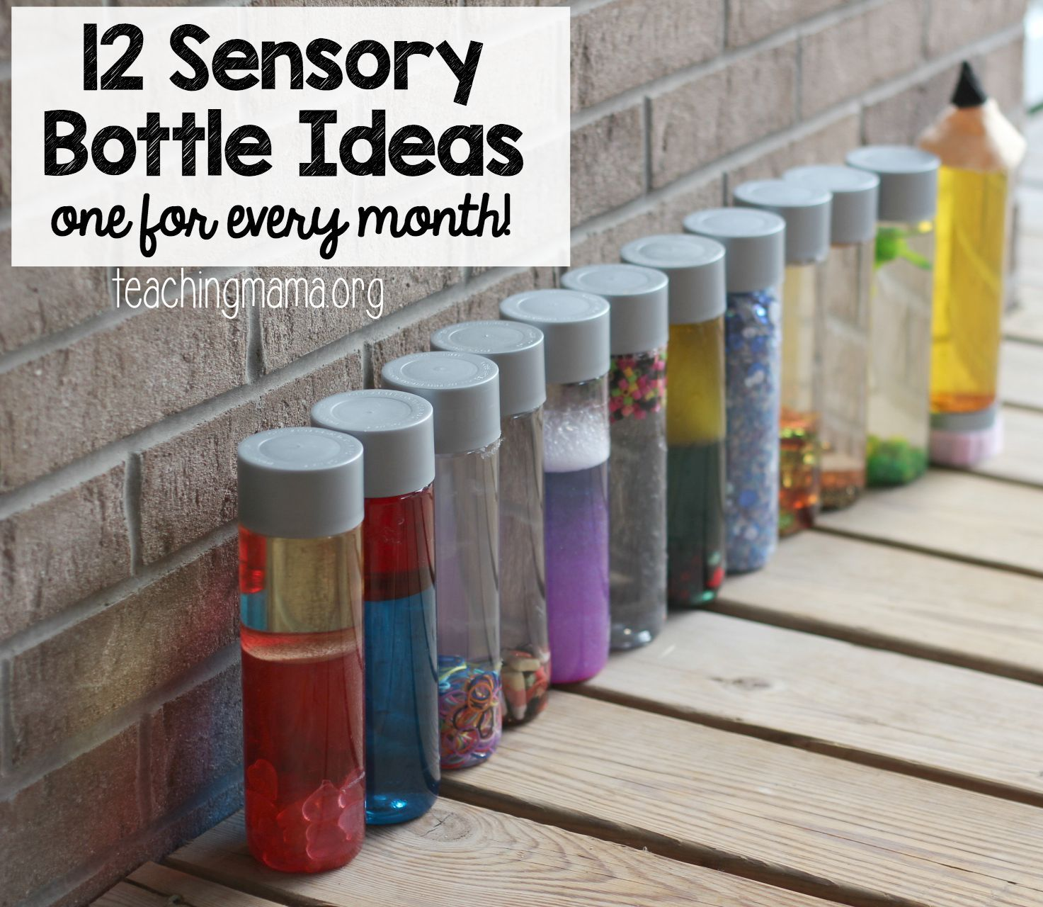 Over the last year, I've shared a sensory bottle for every month. It was a fun challenge for me and my baby loved playing with them. We've kept them all and we still get them out to play with. Here they are! I always make our sensory bottles with plastic VOSS water bottles. You can find …