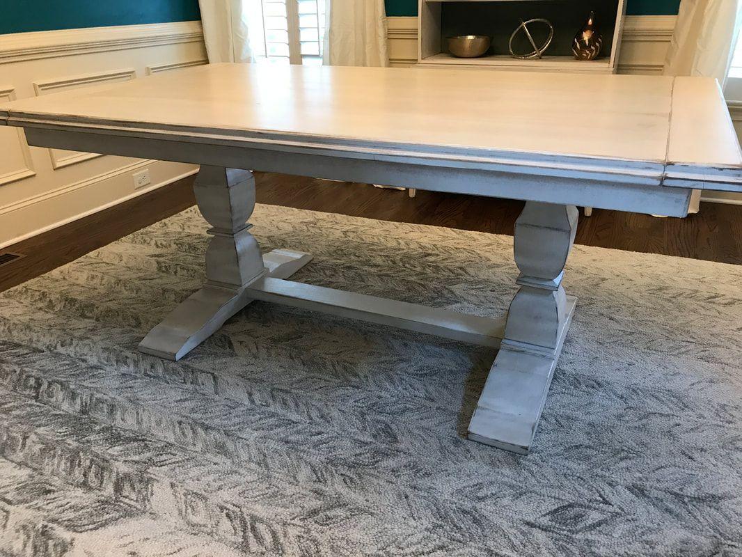 Custom Restoration Hardware Style Trestle Dining Table Sliding