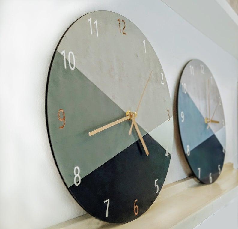 Geometric Wall Clock Minimalist Wall Clock Large Wall Etsy In 2020 Large Wall Clock Modern Minimalist Wall Clocks Large Wall Clock