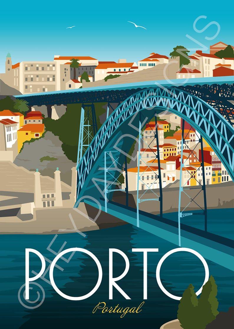 Porto Travel Poster Print Vintage Portugal Souvenir Gift Etsy Porto Travel Travel Posters Vintage Travel Posters