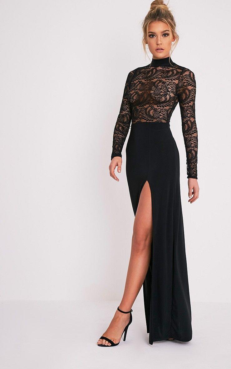 Maisie black lace top split side maxi dress image clothing