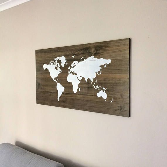Large Huge World Map On Wood Rustic Farmhouse Style Decor Rustic - Huge world map for wall