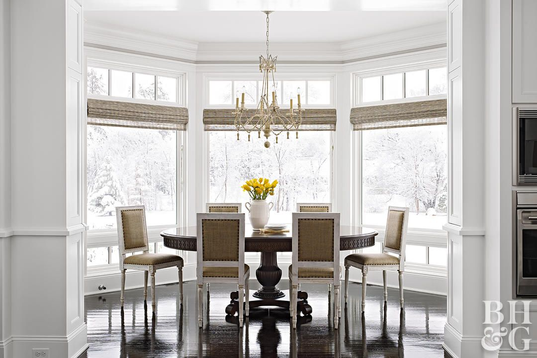 12 Stunning Bay Window Treatments You Need To See Dining Room Window Treatments Dining Room Windows Window Treatments Living Room