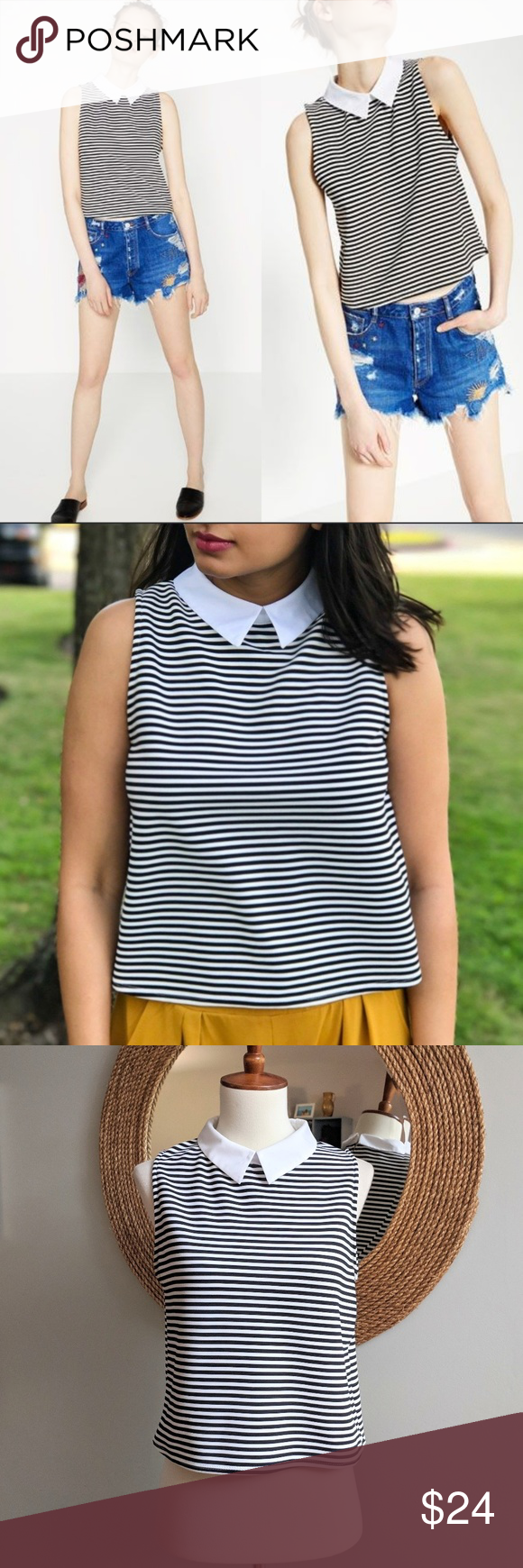bcfb9df72c630d Zara Striped Poplin Collar Crop Top Black and white striped sleeveless top  with contrasting white collar. Keyhole back with button closure. Size Medium .