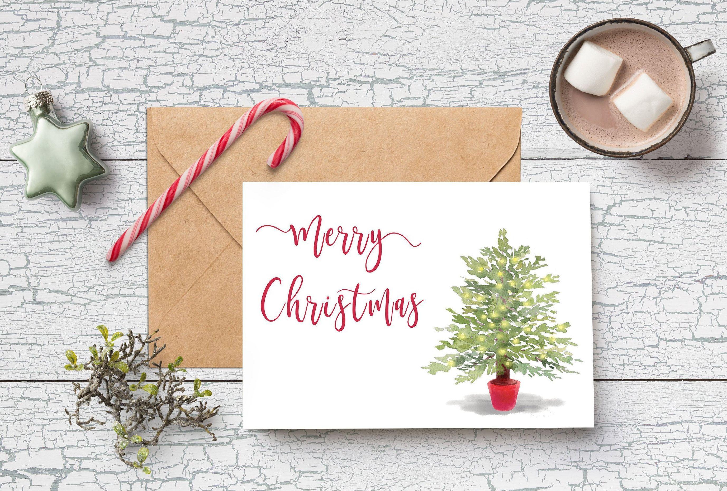 Printable Merry Christmas Card Christmas Tree Card Diy Christmas