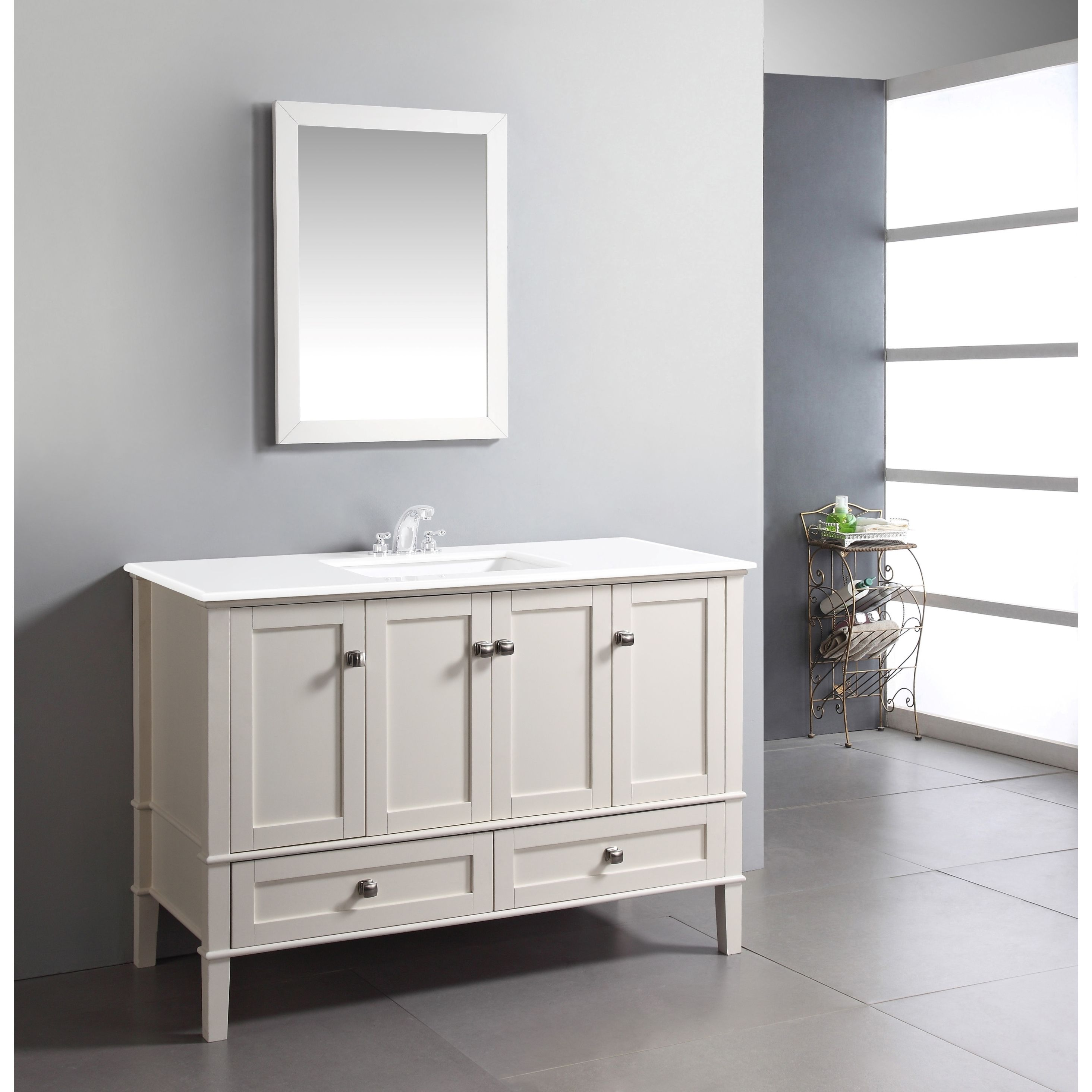 The 48-inch Windham Bathroom Vanity is defined by its soft white ...