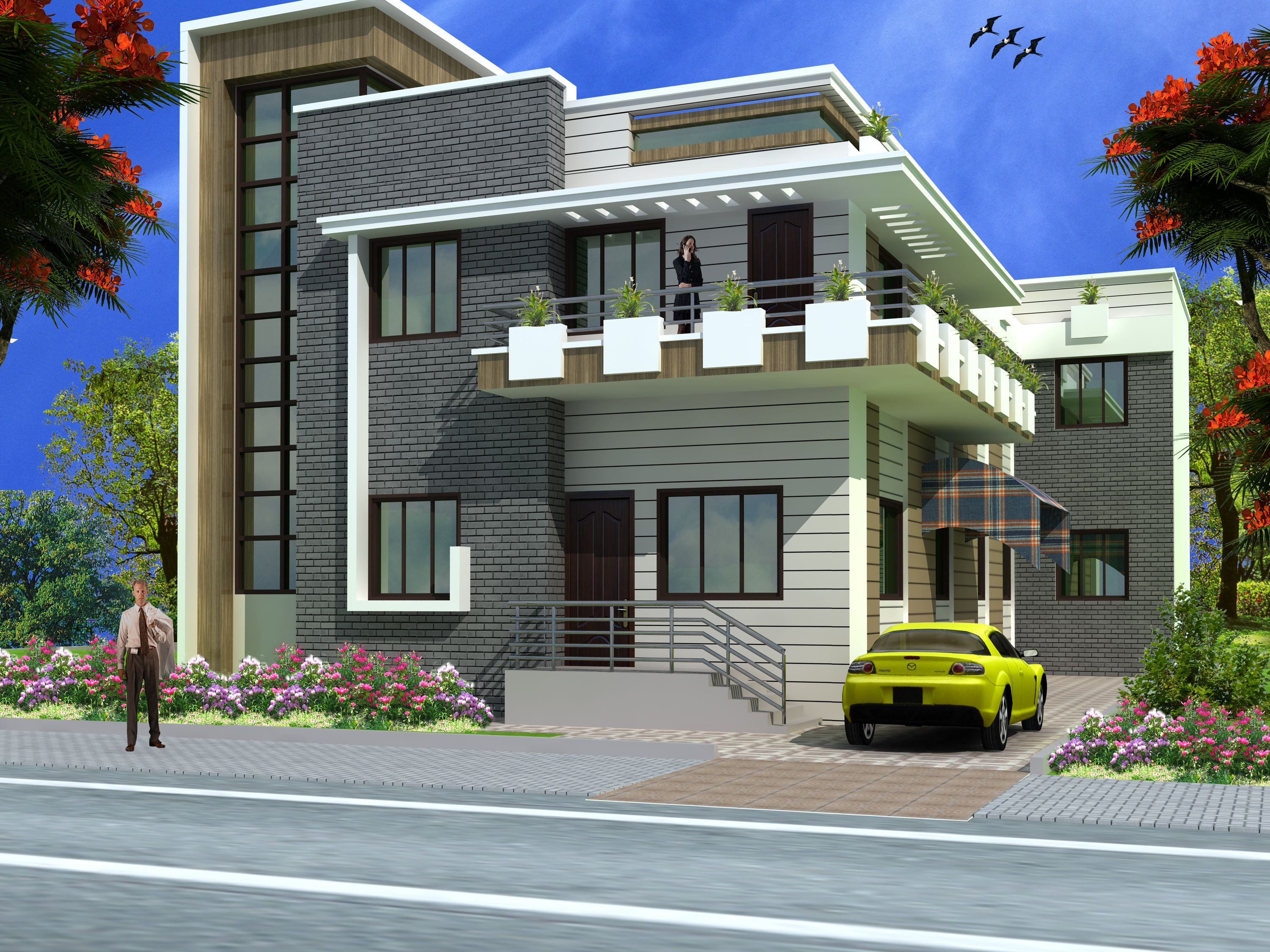 Modern duplex 2 floor house design click on this link for Front view house plans