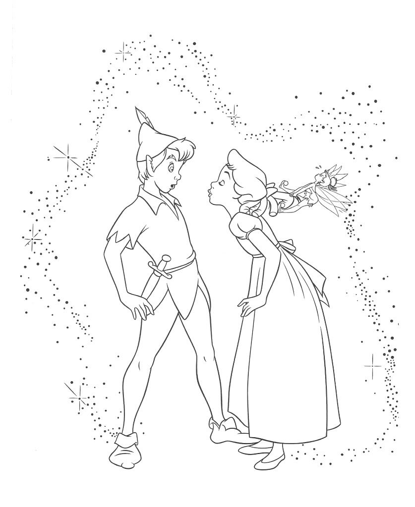 Wendy darling colouring pages google search coloring for Immagini peter pan da colorare