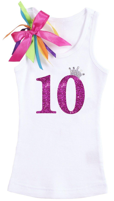 Bubblegum Divas Big Girls 10th Birthday Shirt Pink and Gold 10