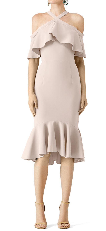 Nude Frill Cold Shoulder Midi Dress - TJ CLOTHES