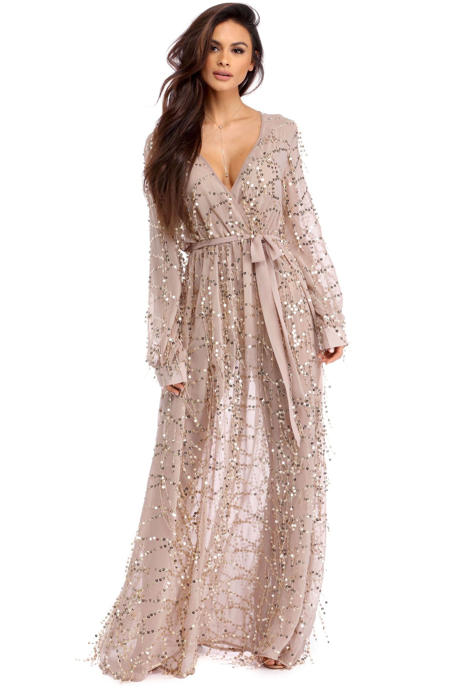 Cressida Natural Sparkling Goddess Dress | windsor | Wrap