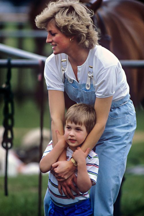 June 28, 1987: Princess Diana with Prince William at a polo match at Smith's Lawn, Windsor.
