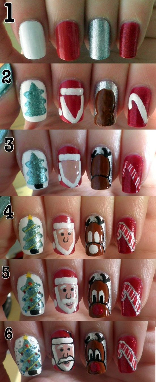 Easy & Simple Christmas Nail Art Tutorials 2012 For Girls