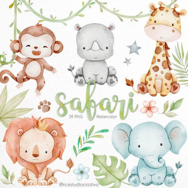 Safari Watercolor Clipart Safari Baby Shower Jungle Watercolor Clip Art Nursery Nursery Decor Art Printable Art Wall Decor In 2021 Animal Clipart Watercolor Clipart Safari Baby Animals