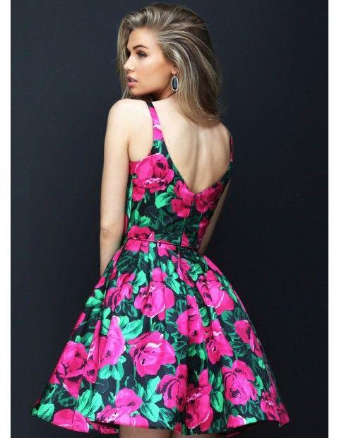 Print Sherri Hill 50604 V Neck A Line Homecoming Dress