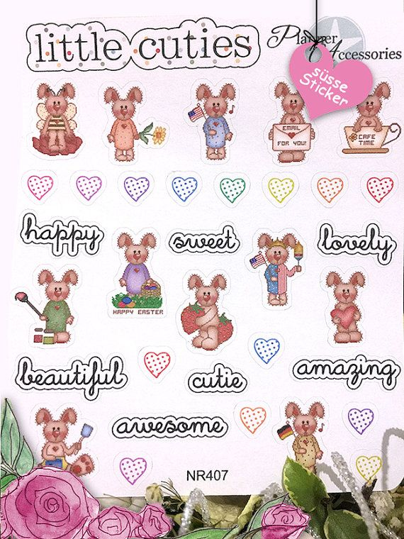 Bunny Stickers  Rabbit Stickers Birthday von EmelysPlannerShop