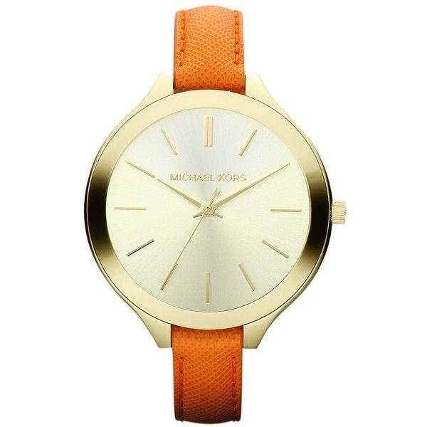 MICHAEL KORS Ladies' Orange Leather & Gold-Tone Stainless Steel Watch $160
