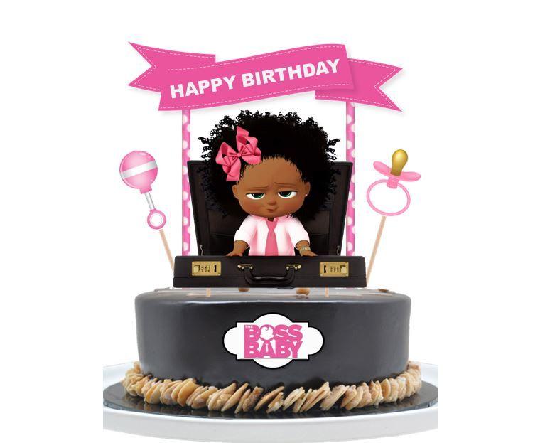 African american boss baby girl cake topper handmade from