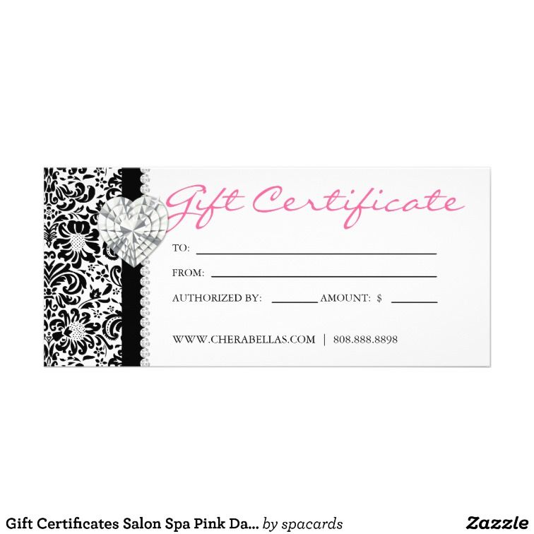 Gift certificates salon spa pink damask bow jewels rackcard floral gift certificates salon spa pink damask bow jewels rackcard floral card pack chubby business cards zazzle reheart Gallery