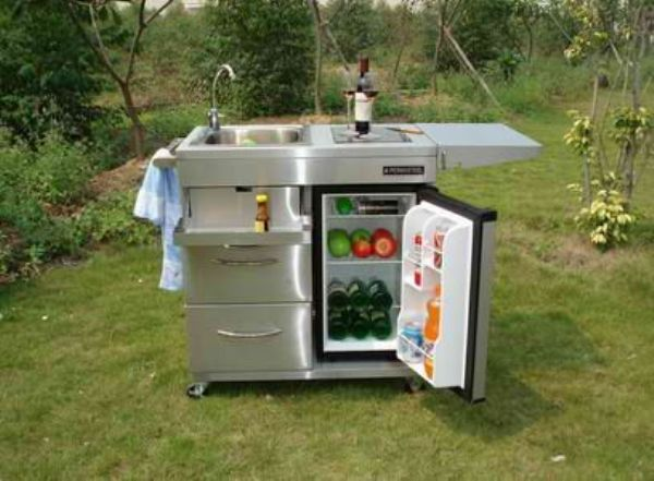 Outdoor Kitchen Cart With Mini Refrigerator And Also Faucet And Sink