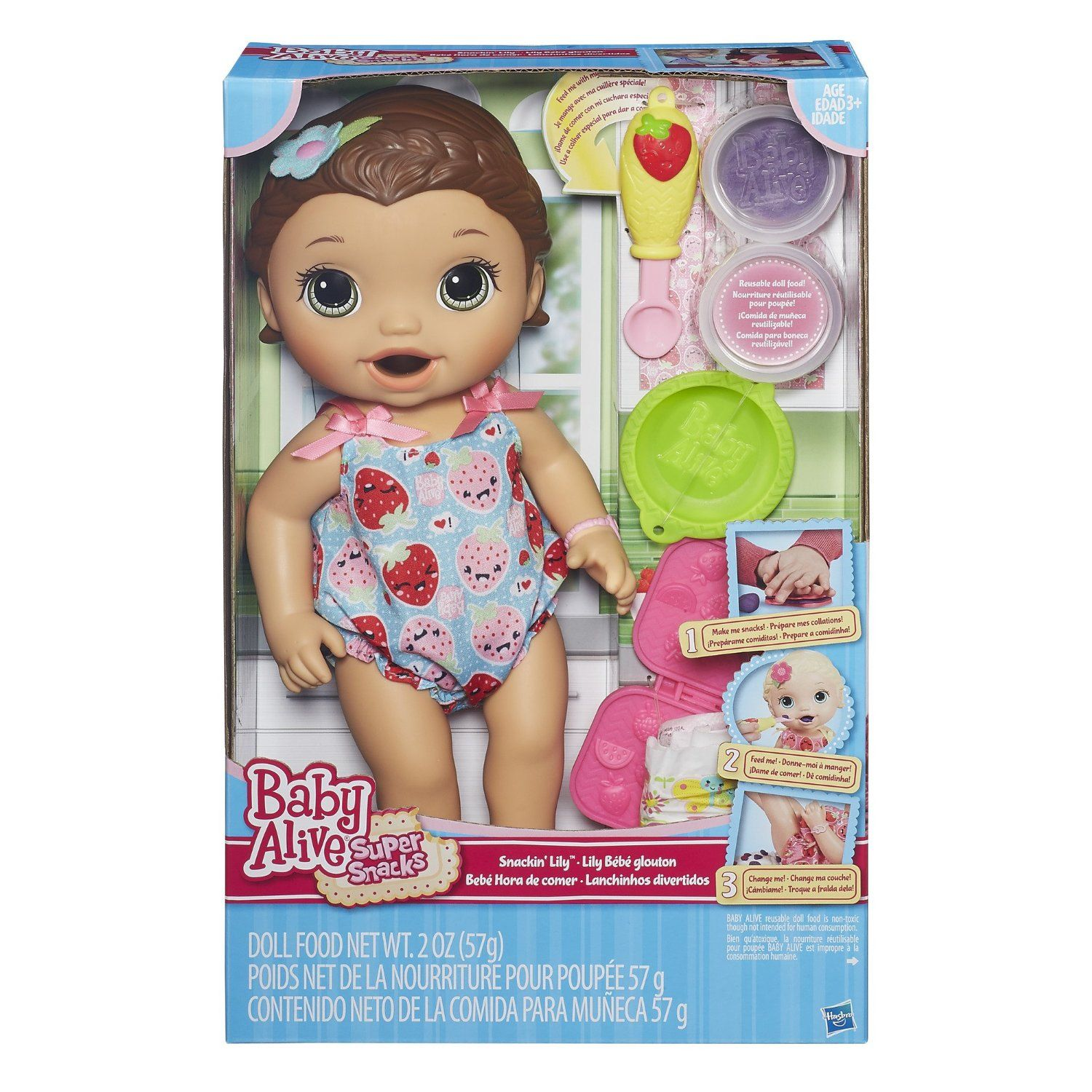 Amazon Com Baby Alive Super Snacks Snackin Lily Brunette Toys Games Baby Alive Baby Dolls Baby Girl Dolls