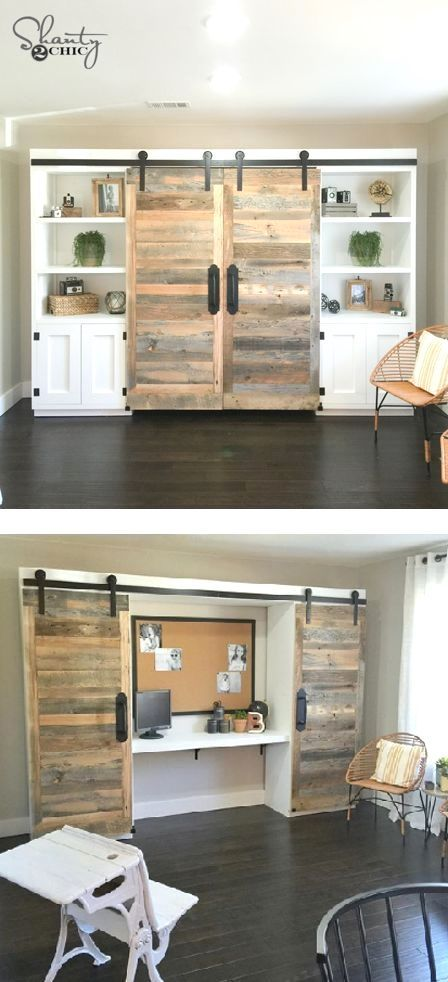DIY Sliding Barn Door Hidden Study DIY Sliding Barn Door Hidden Study